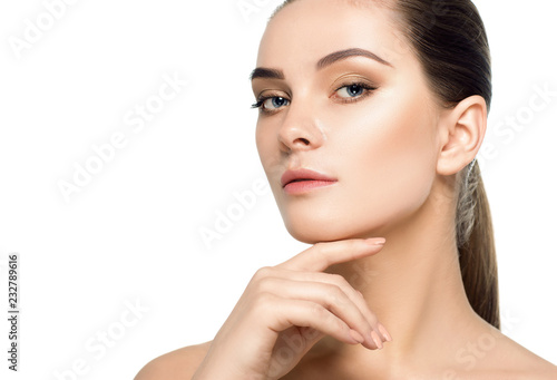 Fototapeta lifting skin face and plastic surgery, beauty portrait