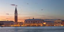 St. Mark's Campanile And Doge's Palace From San Giorgio Maggiore Island At Sunset, Venice, Veneto, Italy