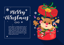 Christmas Card On Dark Navy Background With Reindeer, Christmas Ornament And Snowflake In Big Gift Box. Christmas Template. Vector Illustration