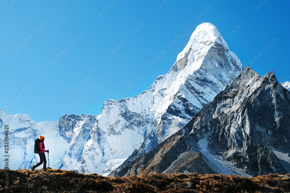 Fototapety, obrazy: Hiker with backpacks in Himalayas mountain, Nepal. Active sport concept.