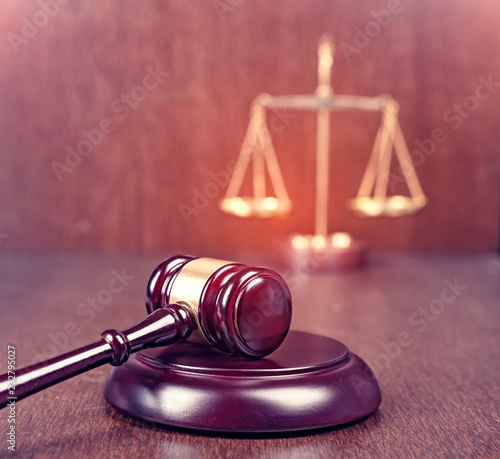 Court gavel scale of justice law theme Wallpaper Mural
