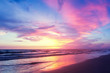 canvas print picture - Beautiful sunset sky over sea