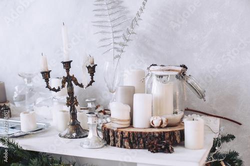 Leinwand Poster Christmas decor on a white table