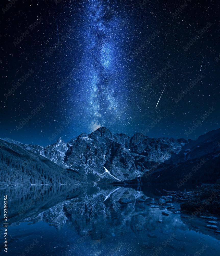Fototapety, obrazy: Milky way over mountains lake at night, Poland, Europe