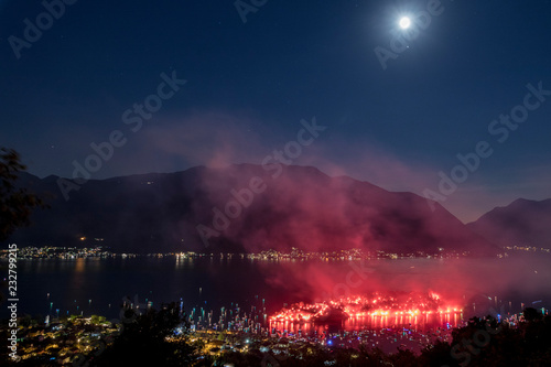 Smoke in the sky after the fireworks show, Ossuccio, Isola Comacina, Lake Como, Lombardy, Italy