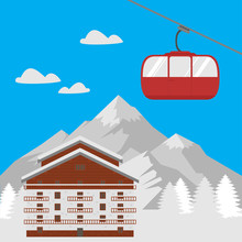 Ski Resort Vacation, Winter Hotel Mountain House. Landscape Village With Cottage For Holiday Travel. Xmas Season Tourism In Alps. Lodge Aerial Tramway, Cable Car Gondola