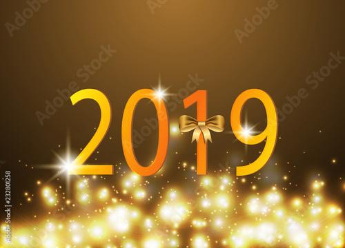 golden glitter happy new year background vector illustration