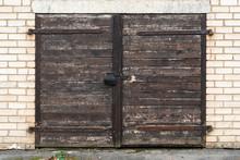 Old Wooden Garage Door With Padlock