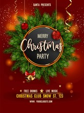 Merry Christmas Party Invitation Poster With Main Information