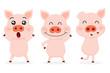Set of Cute pigs.