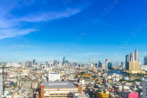 cityscape of Bangkok city skyline with blue sky background, Bangkok city is mode Canvas Print