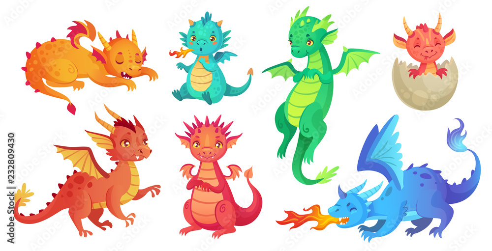 Fototapeta Dragon kids. Fantasy baby dragons, funny fairytale reptile and medieval legends fire breathing serpent cartoon isolated vector set