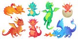 Fototapeta Dino - Dragon kids. Fantasy baby dragons, funny fairytale reptile and medieval legends fire breathing serpent cartoon isolated vector set