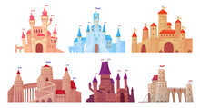 Medieval Castle Towers. Fairytail Mansion Exterior, King Fortress Castles And Fortified Palace With Gate Cartoon Vector Set