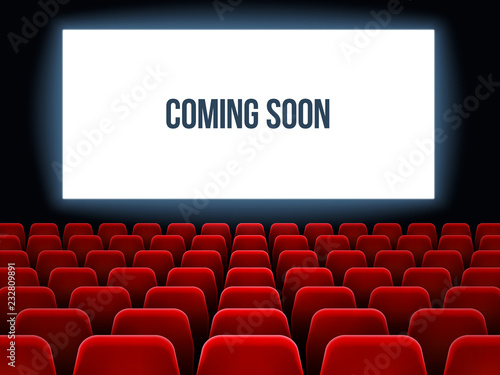 Cinema Hall Movie Interior With Coming Soon Text On White Screen And Empty Red Seats Movie Theater Vector Background Buy This Stock Vector And Explore Similar Vectors At Adobe Stock
