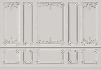 Classic interior wall with mouldings