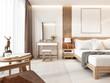 Leinwandbild Motiv Modern light bedroom with wooden furniture in Scandinavian style.
