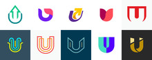 Set Of Letter U Logo. Icon Design. Template Elements - Collection Of Vector Sign