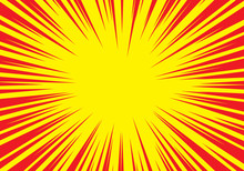 Radial Zoom Speed Line Red On Yellow For Comic Background Vector Illustration.