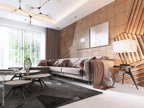 Fotografie, Obraz  Luxurious living room in Contemporary style with wooden decorative panel on the wall