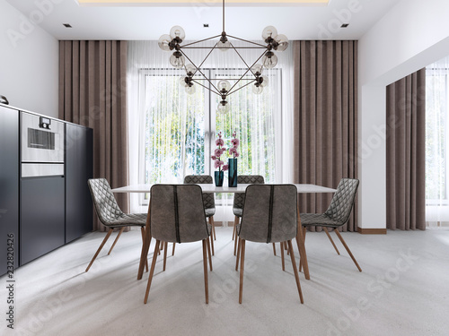 Fotografía  Dining room in Contemporary style with modern chairs and a table by the large window