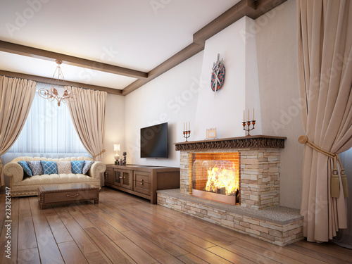 Staande foto Wanddecoratie met eigen foto Living room in a rustic style with soft furniture and a large fireplace with classic elements.