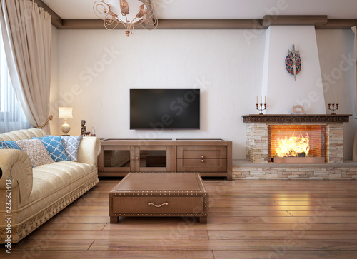 Photo  Living room in a rustic style with soft furniture and a large fireplace with classic elements