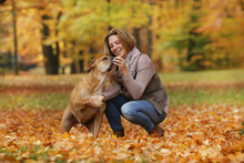 Woman And Dog Doing Commands