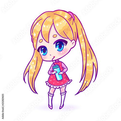 Cute vector illustration. Kawaii Anime girl. Big eyes. Canvas Print