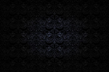 Vintage Gothic Background In Dark Grey And Black With Classic Baroque Pattern, Rococo With Darkened Edges, Vector Eps 10