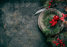Christmas Background With Festive Table Place Setting Decoration On Dark Rustic Background, Top View With Copy Space For Your Design: Invitation, Greetings, Menus, Recipes And So On