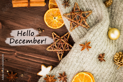 Foto op Canvas Kruiderij Winter and New Year theme. Spices, orange, cinnamon, anise