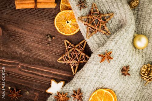 Tuinposter Kruiderij Winter and New Year theme. Spices, orange, cinnamon, anise