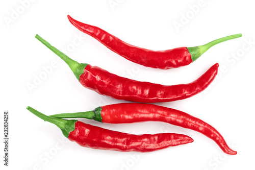 Spoed Foto op Canvas Hot chili peppers red hot chili peppers isolated on white background. Top view. Flat lay pattern