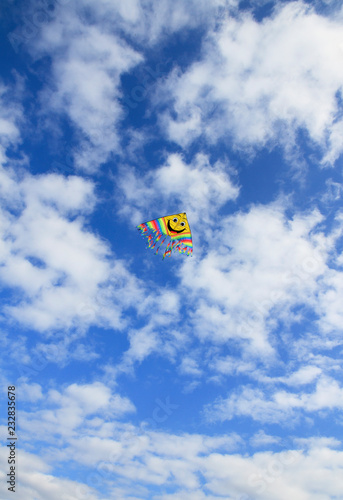 Foto op Canvas Luchtsport Smile kite in the cloudy sky.