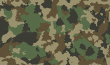 Print Seamless Camouflage Pattern. Khaki Texture, Vector Illustration Military Repeats Army Green Hunting