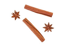 Anise And Cinnamon Isolated On...