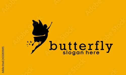 Photo sur Toile Papillons dans Grunge Butterfly vector logo template. Beauty salon - sign creative illustration. Human character. Abstract icon. Design element.