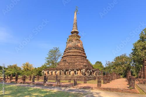 Fotografia  Wat Chang Lom, Shukhothai Historical Park, Thailand