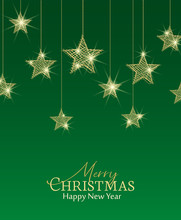 Vector Illustration Of A Christmas Background. Merry Christmas Card With Golden Stars. Gold Decoration On Green Background