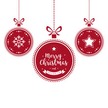 Christmas Wishes Ornaments Red Baubles Hanging Isolated Background