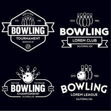 Set Of Vector Vintage Monochrome Style Bowling Logo, Icons And Symbol. Bowling Ball And Bowling Pins Silhouettes. Trendy Design Elements.