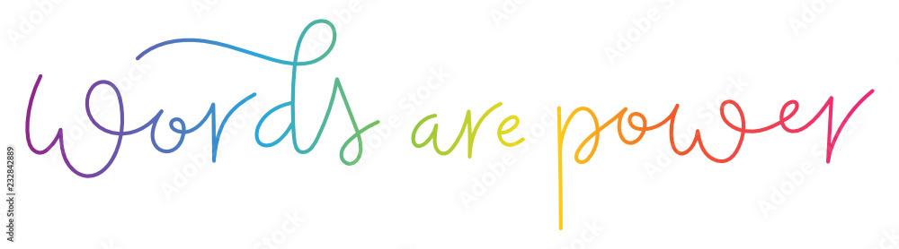Fototapeta WORDS ARE POWER brush calligraphy banner