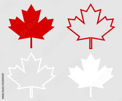 Set of Canada leaf. Red maple leaf Canvas