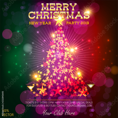 2019 Merry Christmas Party Invitation And Happy New Year