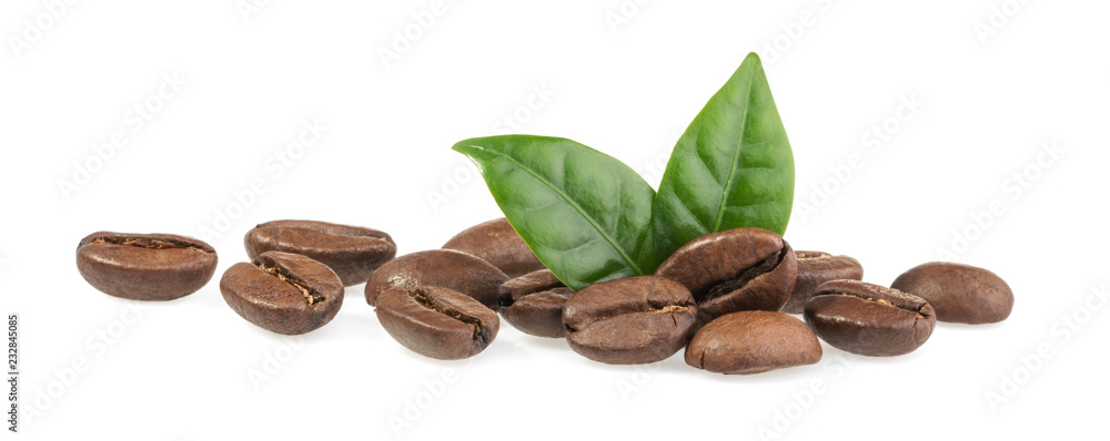 Fototapeta Coffee beans isolated on white background