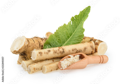 Horseradish roots isolated on white background Fototapet