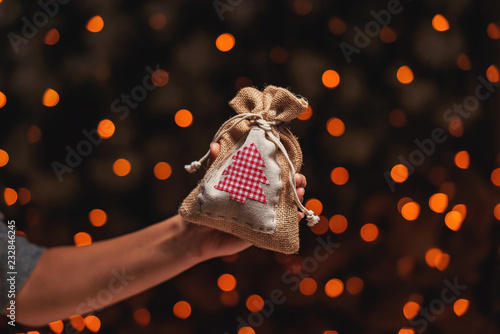 Fotografie, Obraz  Gift jute pouch in hand