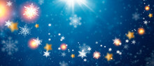 Blue Sparkling Background With Stars.