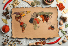 Paper With World Map Made Of D...